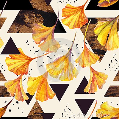 Free Drawing Of Ginkgo Leaves And Triangles Filled With Ink Doodles, Golden Grunge Textures. Royalty Free Stock Images - 101280199