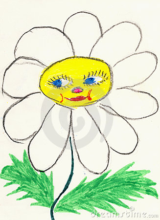 Drawing on paper made the child - chamomile flower