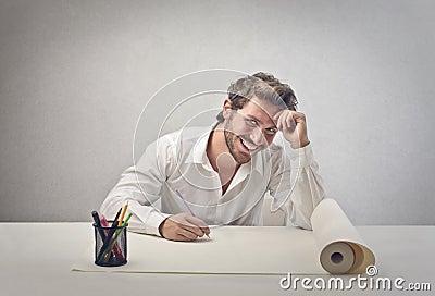 Designer smiling