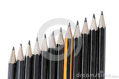 Drawing pencils in row