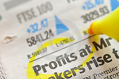 Drawing profits on financial  newspaper