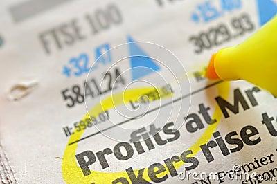 Drawing profits on financial  newspaper