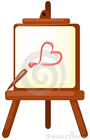 Drawing a red heart on easel