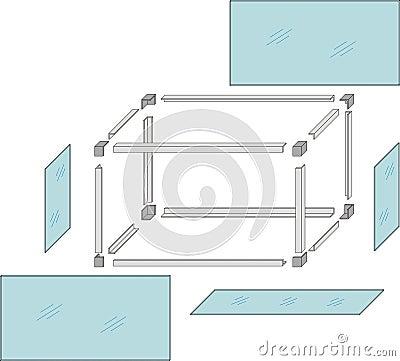 Drawing of a self-made metal aquarium - vector