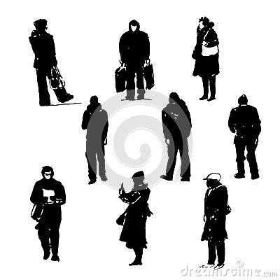 Drawing silhouettes of human figures graphic black ink hand-drawn illustration Vector Illustration