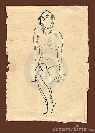 Drawing sitting model in old style