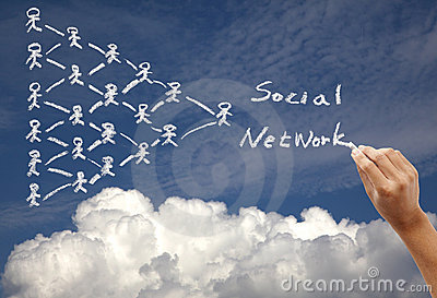 Drawing social network concept on the sky