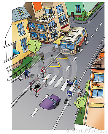 Road safety. Street. Drawing.