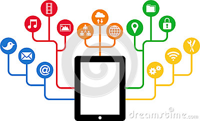 Tablet & Social Media icons, communication in the global computer networks
