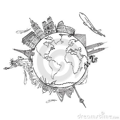Free Drawing The Dream Travel Around The World Stock Photos - 25384073