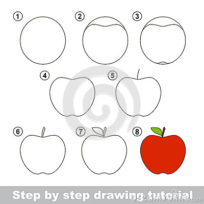Drawing Tutorial How To Draw An Apple Stock Vector