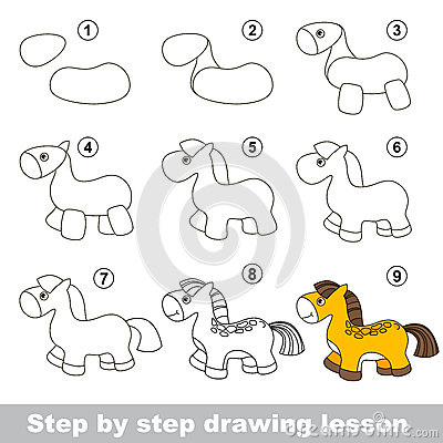 Drawing Tutorial. How To Draw A Horse Stock Vector - Image ...