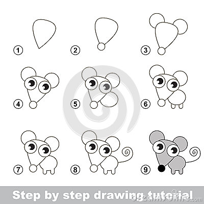 Drawing Tutorial Visual Game For Kids How To Draw A Little Mouse