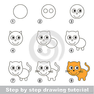 Drawing Tutorial How To Draw A Small Kitten Stock Vector Image 65467273
