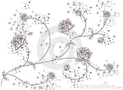 drawing twig with roses