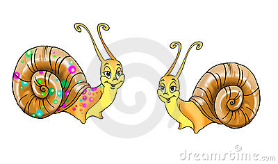 Drawing of two snails