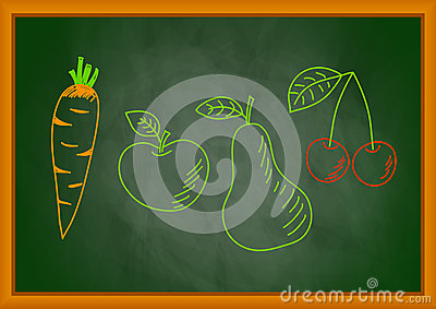 Drawing of vegetable and fruit