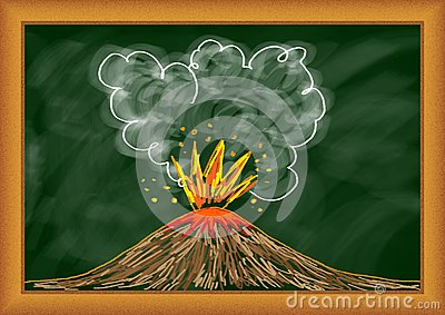 Drawing of volcano