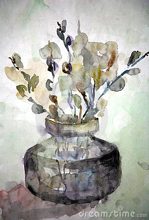 Drawing. Willow flowers in a vase
