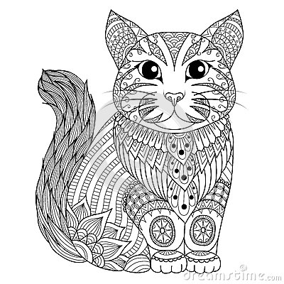 Free Drawing Zentangle Cat For Coloring Page, Shirt Design Effect, Logo, Tattoo And Decoration. Royalty Free Stock Image - 66524316