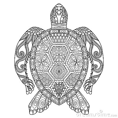 Drawing zentangle turtle for coloring page, shirt design effect, logo, tattoo and decoration. Vector Illustration