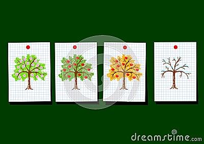Drawings of apple-trees