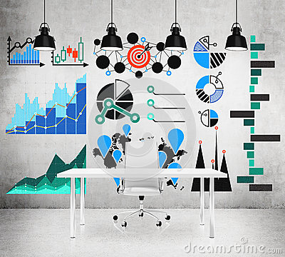Free Drawings With Charts And Graphs On The Wall Royalty Free Stock Photography - 50875207