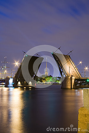 Drawn Birzhevoy Bridge in St. Petersburg