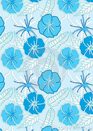 Drawn Blue Flowers Seamless Pattern_eps