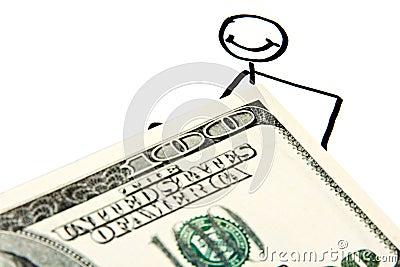 Drawn businessman with money