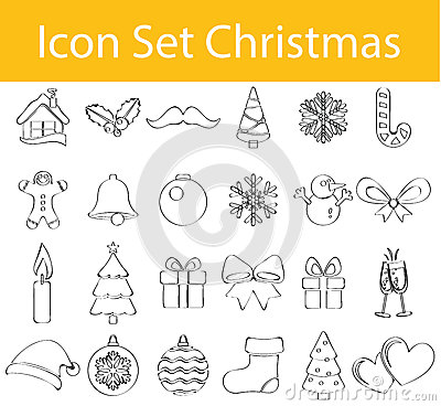 Free Drawn Doodle Lined Icon Set Christmas Royalty Free Stock Images - 72679799