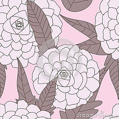 Free Drawn Flowers Seamless Pattern_eps Stock Photography - 19999262