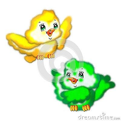 The drawn fluffy birds