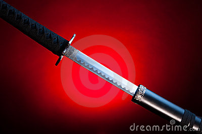 Drawn katana on red background