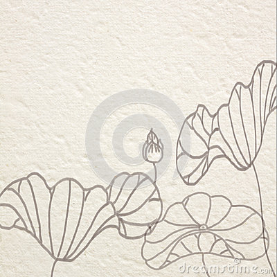 drawn water lilies on Mulberry paper