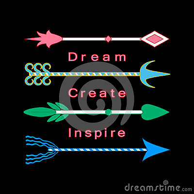 Free Dream, Create, Inspire Concept Inspiration Quote Motivational Words Colorful Tribal Arrows Set Royalty Free Stock Images - 59979969