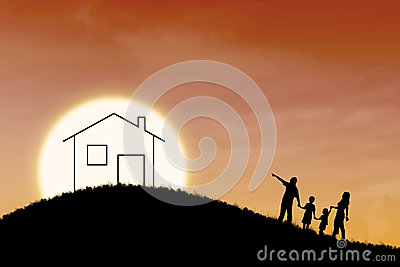 Dream of family house on orange sunset background