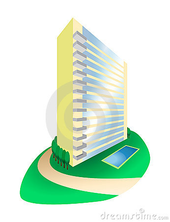 Dream House Condominium on Hill Illustration