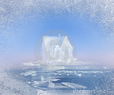 Dream ice house in nord ocean collage