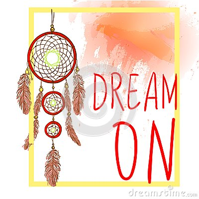 Free DREAM ON Words With Dream Catcher With Paint Splash Backdrop. VECTOR Sketch. Red And Yellow Colors Stock Photography - 103915062
