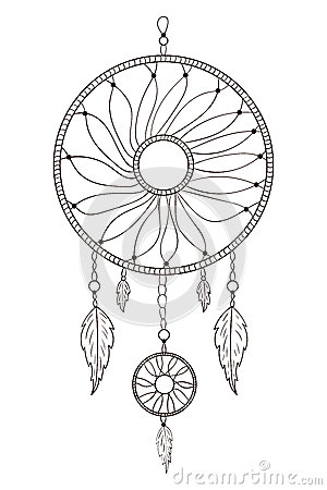 Dreamcatcher hand drawn on a white background stock for Dreamcatcher tattoo template