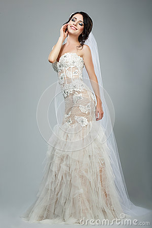 Dreaminess. Full Length of Happy Bride with Closed Eyes in Sleeveless White Dress