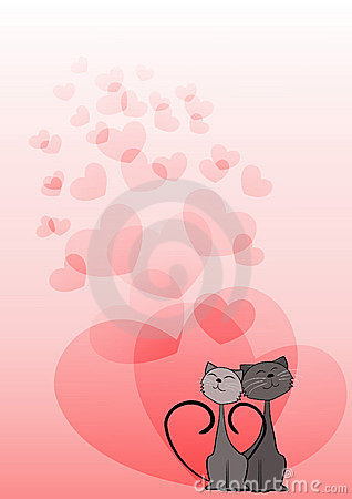 Dreaming cats. Valentine s card.