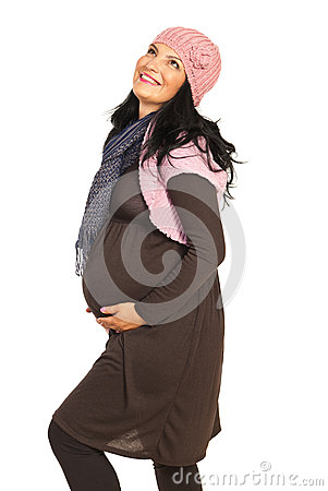 Dreaming happy pregnant woman