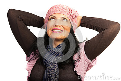 Dreaming happy winter woman