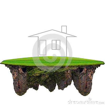 Free Dreaming Home On Floating Green Land Stock Photography - 31773082