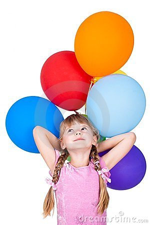Dreaming little girl with balloons bunch isolated