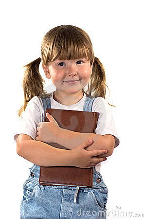 Free Dreaming Little Girl With Book Royalty Free Stock Image - 3081106