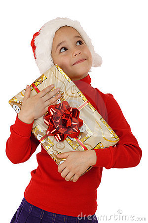 Free Dreaming Little Girl With Christmas Gift Box Royalty Free Stock Photos - 16977308
