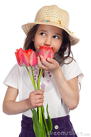 Free Dreaming Little Girl With Red Tulips Royalty Free Stock Image - 19470736